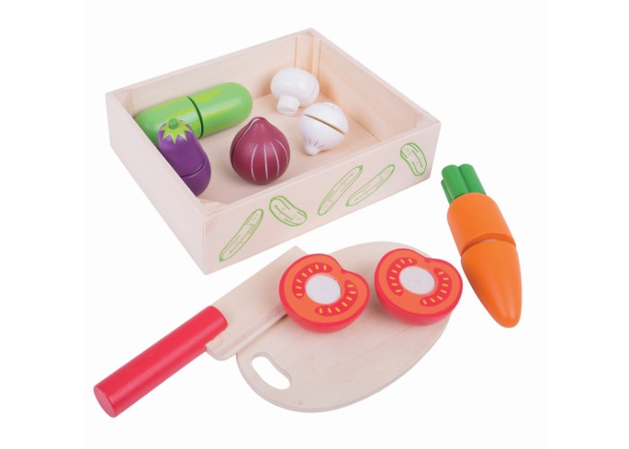 Bigjigs Toys Wooden Cutting Vegetables Crate