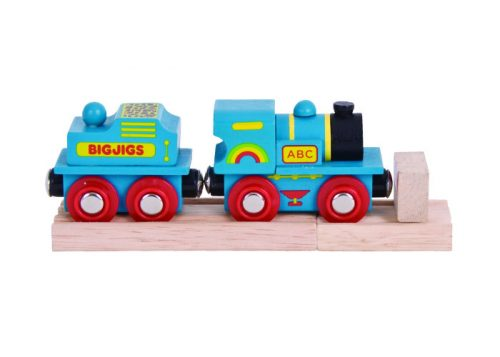 Bigjigs Rail Blue ABC Wooden Engine