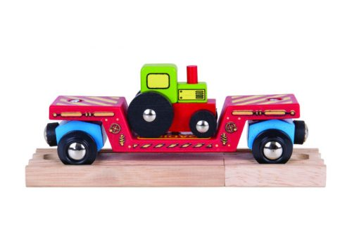 Bigjigs Rail Wooden Tractor Low Loader Train