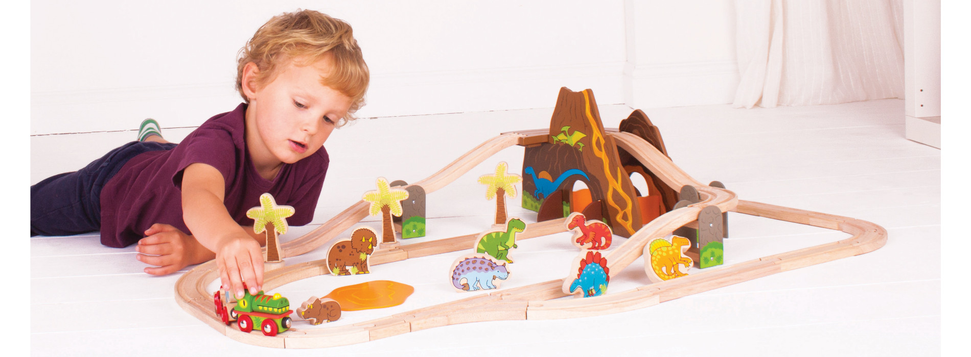 Bigjigs Rail Wooden Dinosaur Train Set 2