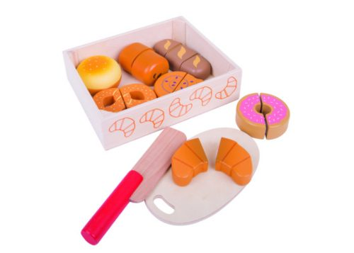 Bigjigs Toys Wooden Cutting Bread and Pastries Crate