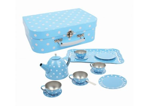 Bigjigs Toys Blue Polka Dot Tin Tea Set