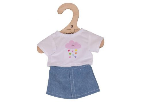 Bigjigs Toys White T-shirt and Denim Skirt