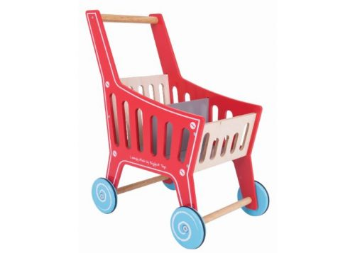 Bigjigs Toys Wooden Supermarket Shopping Trolley
