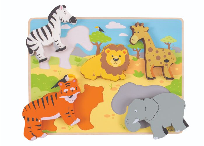 Bigjigs Toys Wooden Chunky Lift Out Safari Puzzle