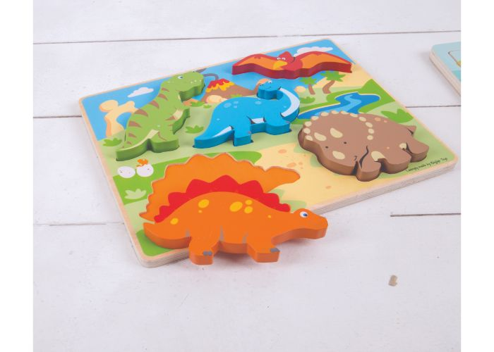 Bigjigs Toys Wooden Chunky Lift Out Dinosaurs Puzzle