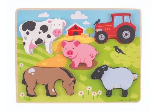 Bigjigs Toys Wooden Chunky Lift Out Farm Puzzle