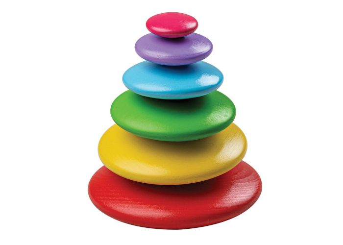 Bigjigs Toys Wooden Rainbow Stacking Pebbles