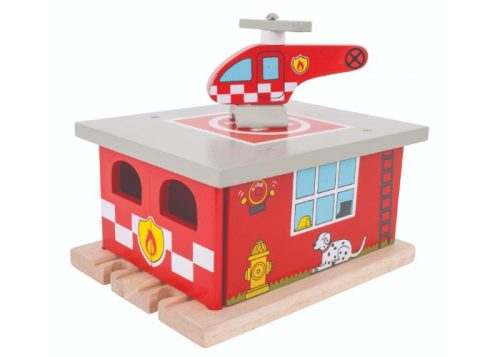 Bigjigs Rail Wooden Fire Station Shed