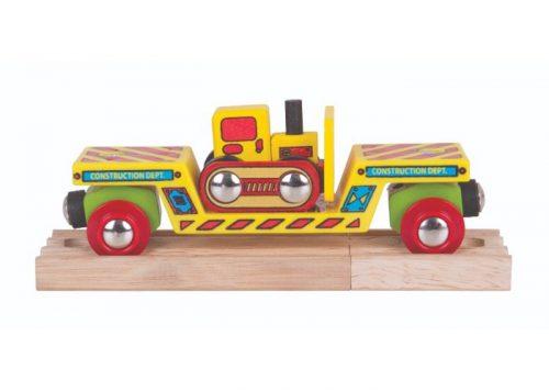 Bigjigs Rail Wooden Bulldozer Low Loader